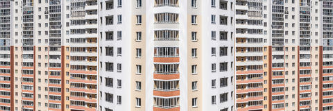 Panorama of residential high-rise apartment buildings Stock Photography