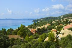Panorama of the resort in Corfu Royalty Free Stock Photos