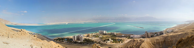 Panorama of resort on dead sea Stock Photo