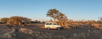 Panorama of rest camp and quiver tree forest at Garas Royalty Free Stock Photography