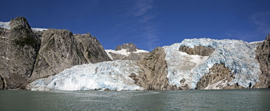 Panorama of Retreating Tidewater Glacier Stock Photo