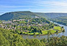 Panorama of Revin city in France Royalty Free Stock Images