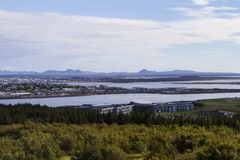 Panorama of Reykjavik, lake and houses side view stock images