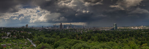 Panorama of the Rhein Main Valley with the skyline of Frankfurt Royalty Free Stock Photography