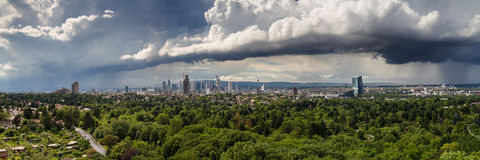 Panorama of the Rhein Main Valley with the skyline of Frankfurt Stock Photos