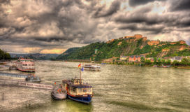 Panorama of The Rhine in Koblenz Stock Photos