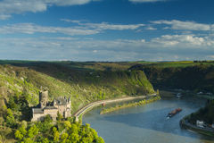 Panorama of the Rhine River Valley with Castle Katz Stock Images