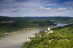 Panorama of the Rhine River Valley with Castle Sterrenberg Royalty Free Stock Photo