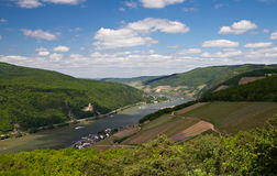 Panorama of the Rhine Valley. From the Rittersaal lookout, Hessen, Germany royalty free stock photos