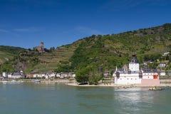 Panorama of the Rhine valley near Kaub. With medieval castle Pfalzgrafenstein, Germany stock photos