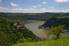Panorama of the Rhine Valley near the Loreley. Hessen, Germany stock images