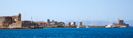 Panorama of  Rhodes harbour. Royalty Free Stock Photos