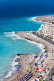 Panorama of Rhodes town. Beach Stock Image