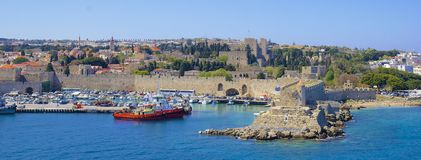 Panorama of Rhodes town, Greece Royalty Free Stock Image