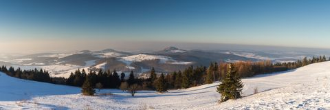 Panorama of the Rhoen in winter Royalty Free Stock Images
