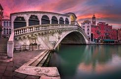 Panorama of Rialto Bridge and San Bartolomeo Church at Sunrise,. Venice, Italy Royalty Free Stock Photography