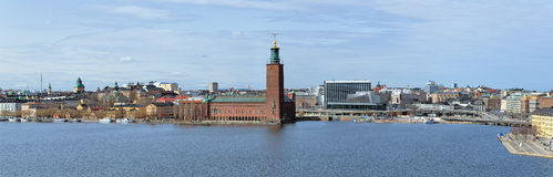 Panorama of Riddarfjarden bay with Stockholm City Hall Stock Image