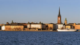 Panorama, Riddarholmen in Stockholm. Scenic panorama of the island Riddarholmen in Stockholm, Sweden Stock Image