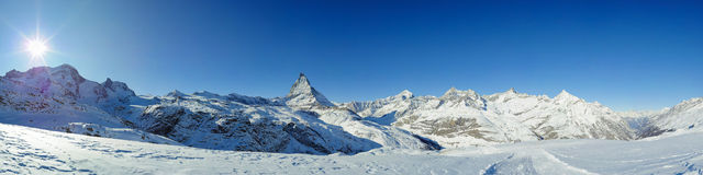 Panorama from riffelberg in winter Stock Images