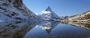 Panorama of Riffelsee with Matterhorn reflection Royalty Free Stock Image