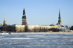 Panorama of Riga. In the winter Royalty Free Stock Image