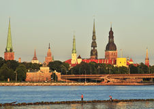 Panorama of Riga stock images