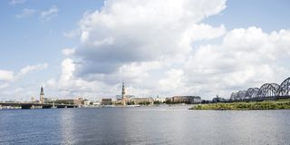 Panorama of Riga,. Kind from the left coast of the river Daugava Royalty Free Stock Image