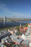 The Panorama of Riga. Daugava, Vasu bridge, Saules akmens building Royalty Free Stock Photo