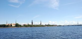 Panorama of Riga,. Kind on quay from outside the rivers Royalty Free Stock Photo