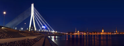 Panorama of Riga with bridge Royalty Free Stock Photography
