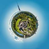 Panorama of Riga city, Latvia. Little planet 360 degree sphere. Panorama of Riga city, Latvia Royalty Free Stock Photo