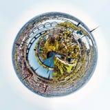 Panorama of Riga city, Latvia. Little planet 360 degree sphere. Panorama of Riga city, Latvia stock images
