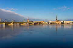 Panorama of Riga on the frozen river and fresh snow Stock Photography