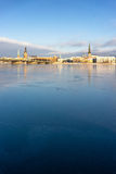 Panorama of Riga on the frozen river and fresh snow Royalty Free Stock Images