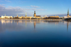 Panorama of Riga on the frozen river and fresh snow Stock Image