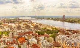 Panorama Riga, Latvia Zdjęcia Royalty Free