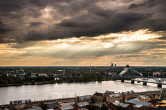 Panorama of Riga, Latvia. (Daugava, old market, National library Stock Photography