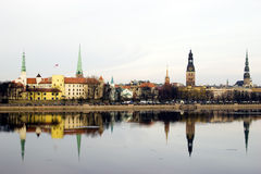Panorama of Riga old town Stock Photos