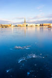 Panorama of Riga with reflection in a frozen river Daugava. Latvia, Baltic state. Europe royalty free stock images