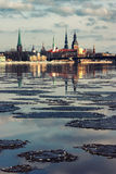 Panorama of Riga in the spring of the Daugava Royalty Free Stock Images