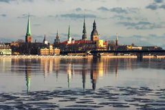 Panorama of Riga in the spring of the Daugava Stock Photography