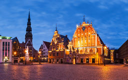 Panorama Riga Town Hall Square with House of the Royalty Free Stock Image