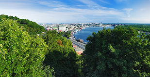 Panorama of the right bank of the Dnieper in Kiev Royalty Free Stock Photography