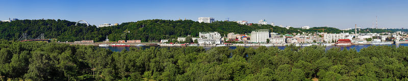 Panorama of the right bank of the Dnieper in Kiev Royalty Free Stock Images