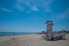 Panorama of the Rimini beach with the presence of the lifeguard. 7 june 2016-riccione Stock Images