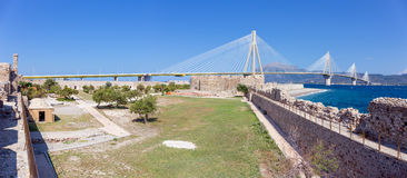 Panorama of Rio castle, Rio–Antirrio bridge in the background, Peloponnese, Greece Royalty Free Stock Photo