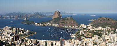 Panorama of Rio de Janeiro. Panoramic view of Sugar Loaf and Guanabara Bay. Brazil royalty free stock image