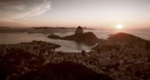 Panorama of Rio de Janeiro city and Sugarloaf mountain stock images