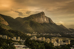 Panorama of Rio de Janeiro with Corcovado Hill at sunrise Stock Photo