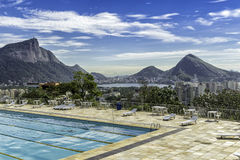 Panorama of Rio de Janeiro from the pool, Brazil Royalty Free Stock Image